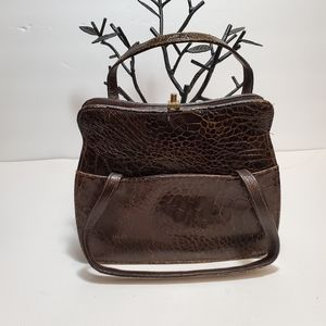 Small Vintage Brown Embossed Leather Purse